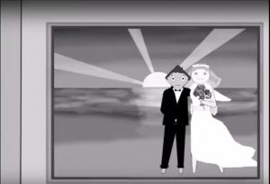 Video gezeichnetes Hochzeitspaar