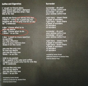 Booklet Songtext
