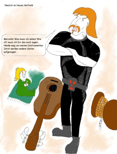 James Hetfield mit Tochter Marcella und kaputter Gitarre