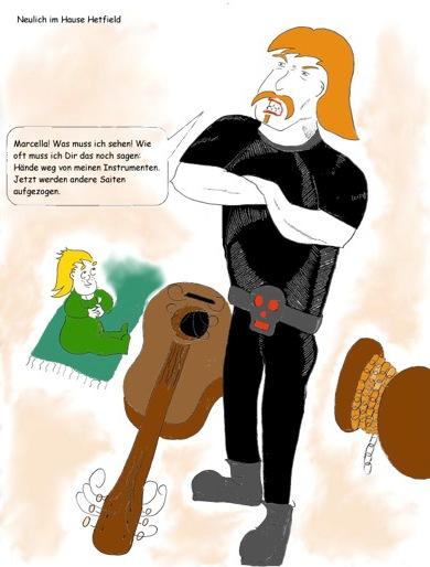 James Hetfield mit Tochter Marcella und kaputter Gitarre.