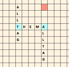 Scrabble mit den Worten Thema und Alltag